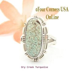 Four Corners USA Online - Size 7 1/2 Dry Creek Turquoise Sterling Ring Navajo Artisan Larry Moses Yazzie NAR-1690, $113.00 (http://stores.fourcornersusaonline.com/size-7-1-2-dry-creek-turquoise-sterling-ring-navajo-artisan-larry-moses-yazzie-nar-1690/)