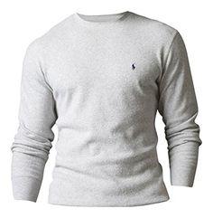 Polo Ralph Lauren Männer Jungen Langarm Waffle Knit Thermal T-Shirt Licht  Grau L