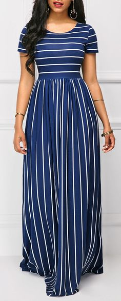Short Sleeve Stripe Print High Waist Navy Maxi Dress.#Rosewe#dress#womensfashion