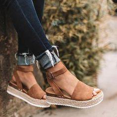 2086e0602d1 kattystory Platform Peep Toe Weaving Sandals Leopard Espadrilles