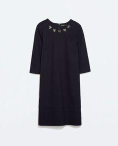 DENIM DRESS WITH APPLIQUES-Plain-Dresses-WOMAN | ZARA United States