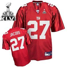 0db63b330ce Giants Brandon Jacobs  27 Red Super Bowl XLVI Embroidered NFL Jersey! Only   19.50USD