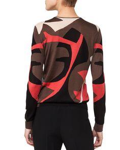 Akris Crewneck Long-Sleeve Intarsia Knit Pullover