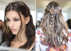 Pull some hair back on each side into two loose braids, connect them into a rose-like coil, and secure with several bobby pins and hairspray. Create another loose braid down the middle   Half- Up Braided Coil