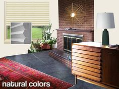 Retro Design Dilemma: Window treatments for Lori's mid century modern living room - Retro Renovation, Brick Fireplace Mantles, Brick Fireplace Makeover, Modern Fireplace, Modern Window Treatments, Window Treatments Living Room, Mid Century Modern Living Room, Retro Renovation, Modern Windows, Window Coverings