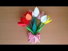 折り紙 クロッカスの花と葉 立体 簡単な折り方(niceno1)Origami Crocus flower and leaves 3D - YouTube