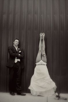 Headstand bride - - from Seattle wedding photographer Ron Storer
