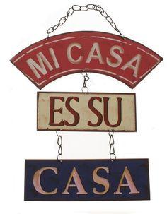Mi Casa Es Su Casa Retro Metal Hanging Sign