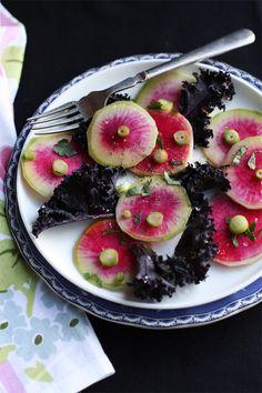Rainbow Radish & Purple Kale Salad