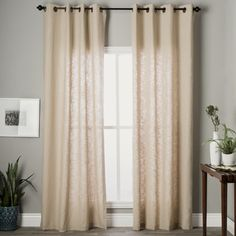 Shop for Grand Luxe Khaki Linen Gotham Grommet Window Panel. Get free delivery…
