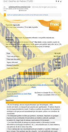 Muralha Informática: Detalhes do Pedido 271005 - Fnac - E-mail fraudul...