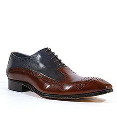 Duca Italian Mens Shoes Marrone Blue Leather Oxfords (D1001)