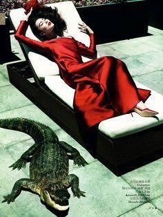 Liu Wen - Vogue China December 2013 by Mario Testino
