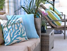 turquoise + striped outdoor pillows from @hayneedle