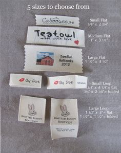Custom clothing labels using your logo or artwork for your Shop or Personal use sew in eco-friendly cotton labels