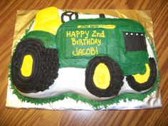 John Deere Tractor Cake - Devil's food cake with crusting buttercream. Used a shaped pan for this cake.