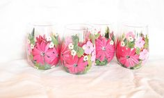Stemless Wine Glasses Hand Painted Pink Floral by lstaubin on Etsy