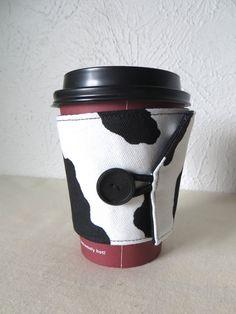 Fabric Coffee Cozy Black & White Holstein Cow by ThreadBasket, $7.50