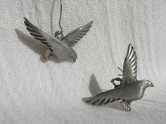 Pewter Bird Earrings Seagull Earrings by AngiezillasBoutique