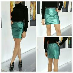 Fabulous green fax leather mini skirt! As you are preparing for the holiday parties, don't forget to add this sexy and fabulous faux leather mini skirt to your wardrobe!! Chic pearlescent deep mint green color. 3 chic seams run horizontal in the front of this skirt, waist band is black faux leather. This skirt is new, never worn.  Size Medium  Thank you so much for visiting my closet, should you have any questions, please don't hesitate to ask! Happy shopping! Skirts Mini