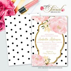 Romantic Garden Peonie Flowers Blush Pink and Gold Glitter Black and White Polka Dots Bridal Shower Invitation Double Sided Printable Kate Spade Inspired