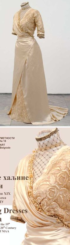 Wedding dress, Berta Alkalaj, Belgrade, 1911. Silk, lace, pearls, wax, metal thread. Bottom picture is photo of exhibition catalog. Museum of Applied Arts, Belgrade