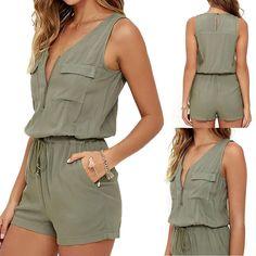 ef2b01c048d7 V-neck Zipper Pockets Playsuit Fashion Beach Overalls New Sexy Sleeveless  Bodysuit Women Jumpsuit Shorts Romper