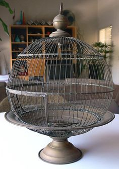 Vintage Antique Hendryx Brass Bird Cage House Round on Pedestal Pet Furniture, Antique Furniture, Pedestal, Antique Bird Cages, The Caged Bird Sings, Bird Feathers, Beautiful Birds, Bird Houses, Home Deco