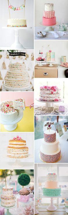 Sprinkle & Funfetti Wedding Cake Ideas | See them all at www.onefabday.com