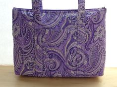 Purple Black White Paisley Print Quilted Purse by RoxannasBags on Etsy