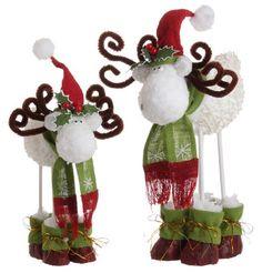 Raz Imports Set of 2 Rustic White Hydrangea Festive Moose Christmas Figures Christmas Moose, Diy Christmas Tree, All Things Christmas, Christmas Tree Decorations, Christmas Ornaments, Holiday Decor, Merry Christmas, Moose Crafts, Moose Decor