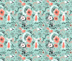 There is a bunny in my mint garden. fabric by mainsail_studio on Spoonflower - custom fabric