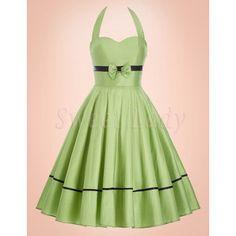 Zaujímavé zelené retro šaty s viazačkou na chrbte