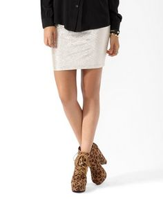 Metallic silver mini skirt