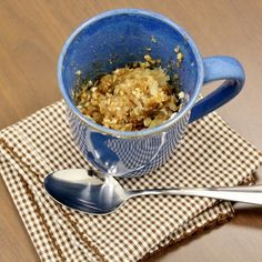 Apple Crisp in a Mug: 1 small apple, peeled and cut into thin slices, 2 tbsp quick oats, 2 tbsp flour, 1 tbsp brown sugar (or 1 packet of stevia), 1 tbsp butter, 1/4 tsp cinnamon pinch of salt. Microwave for 1 minute.