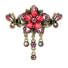 Fashionable Elegant Lady Hair Clips With Diamond Flower and Crystal Butterfly - K -- Details can be found by clicking on the image.