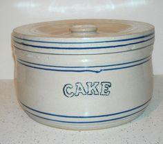White Hall Pottery Early Blue White Stoneware Cake Crock White Hall Illinois   eBay