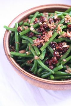 Green Beans with Toasted Walnuts and Dried-Cherry Vinaigrette  Bon Appétit (November 2010)