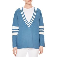 Sandro Naya V-Neck Sweater (23.540 RUB) ❤ liked on Polyvore featuring tops, sweaters, blue denim, denim top, denim sweater, v-neck sweater, sandro sweater and blue sweater