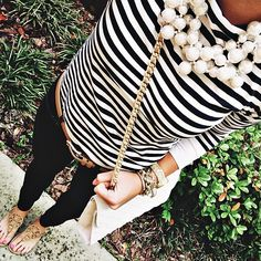#stripes + pearls + black denim
