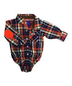 Loving this Orange Flannel Button-Up Bodysuit - Infant on #zulily! #zulilyfinds