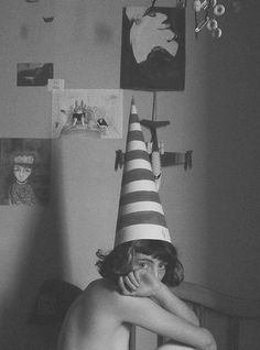 striped tall cone hat