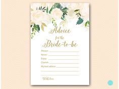 Bluff Bridal Shower Games Advice for the Bride to be Card #babyshowerideas4u #birthdayparty  #babyshowerdecorations  #bridalshower  #bridalshowerideas #babyshowergames #bridalshowergame  #bridalshowerfavors  #bridalshowercakes  #babyshowerfavors  #babyshowercakes