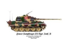 B , artist : C. Tiger Illustration, Camouflage Colors, Tiger Ii, Panzer Iv, Military Armor, Tiger Tank, Ww2 Tanks, Armored Vehicles, Model Building