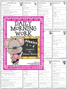 """Daily Morning Work: Weeks 1 - 5 ~ This is the first set from my morning work activity packs: {Based On Common Core Standards} *Language Arts and Mathematics Skills On Every Page! * Here are 25 ready-to-use Morning Work Activity Sheets plus 25 teacher answer keys. Perfect for using as a daily language review, minute math, """"Do Now"""" or as extra enrichment for morning work. Each activity is labeled with the week number and day of the week. Weeks 6 - 10 are also available in my store."""