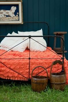 Love the pillow pile!    Dishfunctional Designs: Palette: Coral
