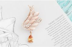 Gorgeous Micro Pave Zirconia Alloy Wing Brooch with Cat's Eye and Champagne AAA Zircon Drop