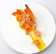 """Here's our second submission for orange purée dish: """"Carrot in textures"""" The… Chefs, Gourmet Recipes, Cooking Recipes, Modern Food, Molecular Gastronomy, Gastronomy Food, Weird Food, Food Decoration, Culinary Arts"""