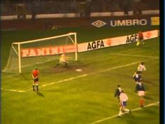 Scotland 0 East Germany 1 in April 1990 at Hampden Park. Thomas Doll scores from the penalty spot for East Germany #Friendly