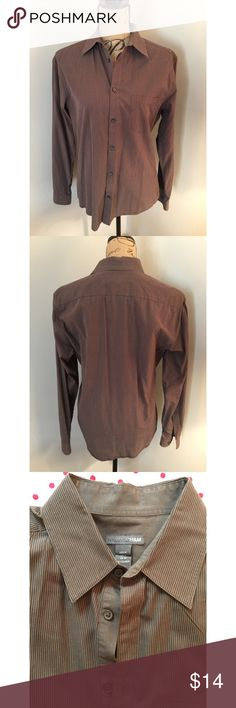Men's H&M Brown Button Down Size M Recently dry cleaned. Shirt is true to size and has a slight stretch to it. In great condition, only worn a handful of times. I apologize for the female model, I don't own a male dress form 🙈. Ⓜ️ercari. H&M Shirts Casual Button Down Shirts